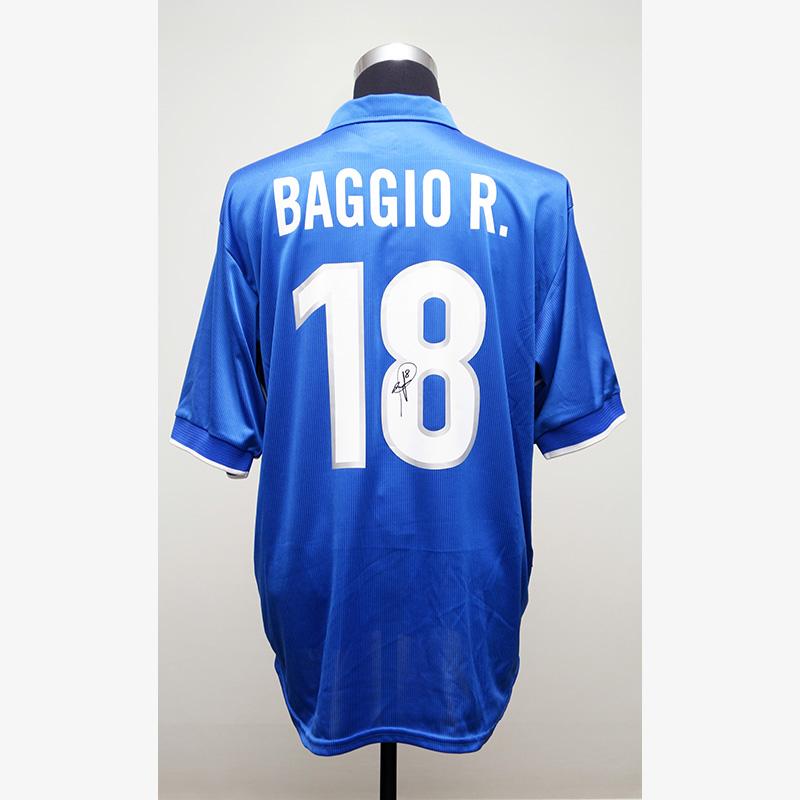 バッジョ直筆サイン入りイタリア代表1998ホームユニフォーム (オリジナル)