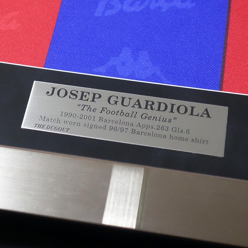 グアルディオラ直筆サイン入り実使用バルセロナ96/97ホームユニフォーム 特製フレーム入り