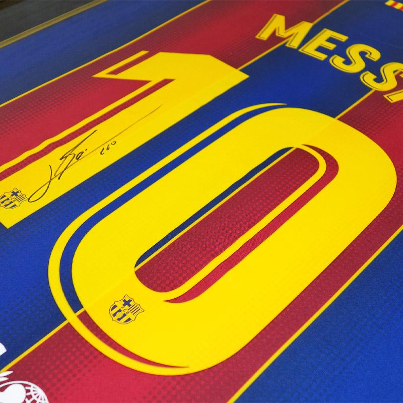 メッシ直筆サイン入りバルセロナ20/21ホームユニフォーム特製フレーム