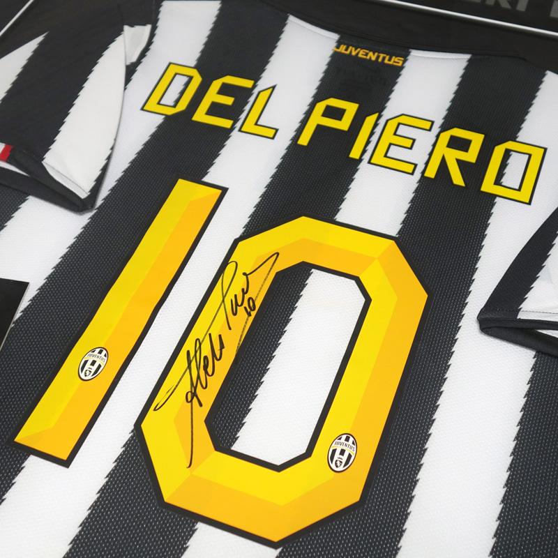 デルピエロ直筆サイン入り選手支給ユベントス10/11ホームユニフォーム特製フレーム