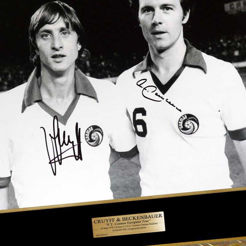 クライフ&ベッケンバウアー直筆サイン入り1978NYコスモスフォト特製フレーム入り