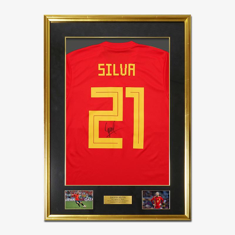 シルバ直筆サイン入りスペイン代表2018ホームユニフォーム特製フレーム