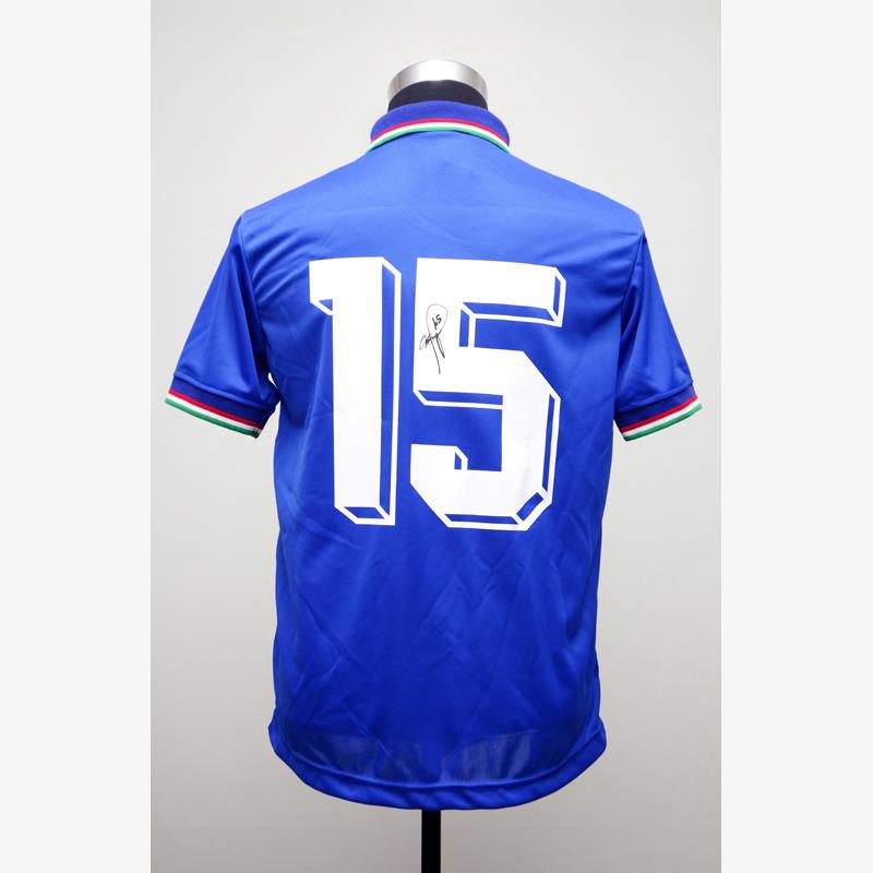 バッジョ直筆サイン入りイタリア代表1990復刻版ホームユニフォーム