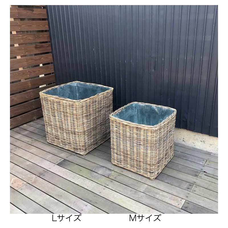 50cm ラタン鉢カバー スクエア  Mサイズ