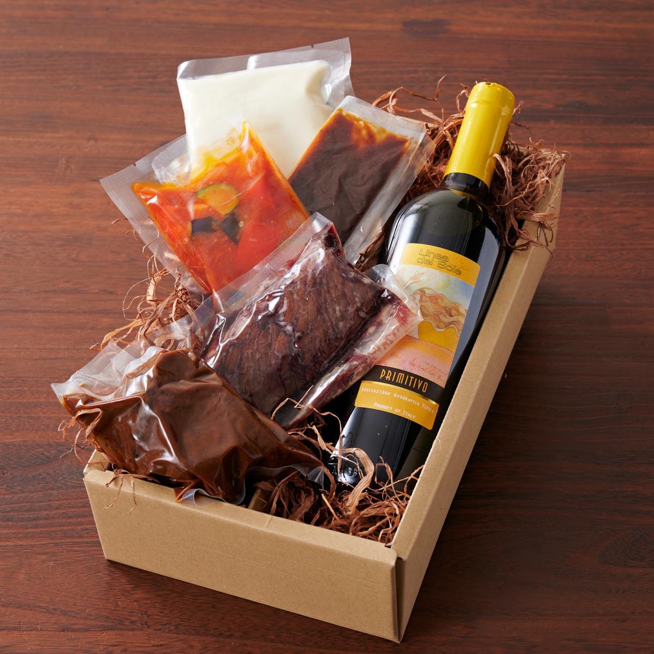 「ワイン倶楽部」の赤ワインを楽しむ肉料理セット■ワイン(750mlボトル1本)付き■