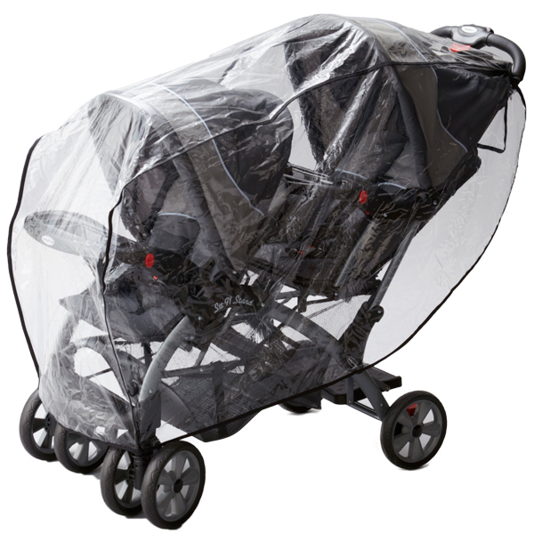 日本育児 二人乗りベビーカー縦型用 レインカバー