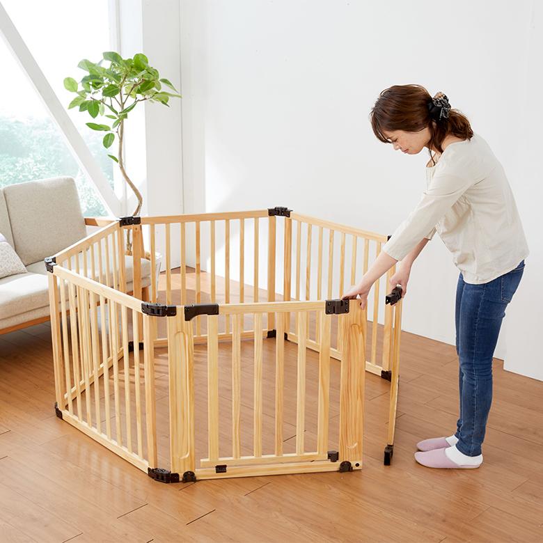 日本育児 たためる木製サークル フレックスDX 【大型商品 代引き不可・日時指定不可】