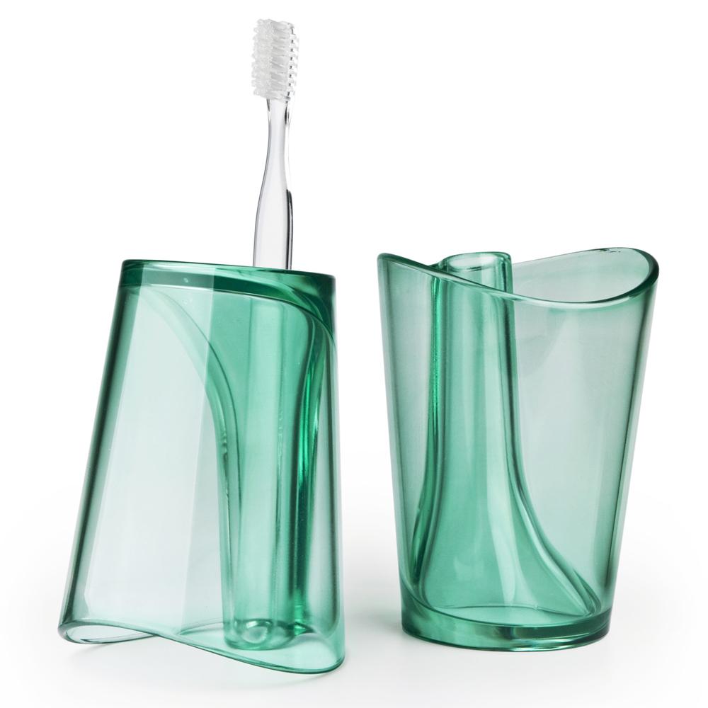 クオリー QUALY フリップカップ グリーン 緑 歯磨き コップ 歯ブラシスタンド 歯ブラシホルダー