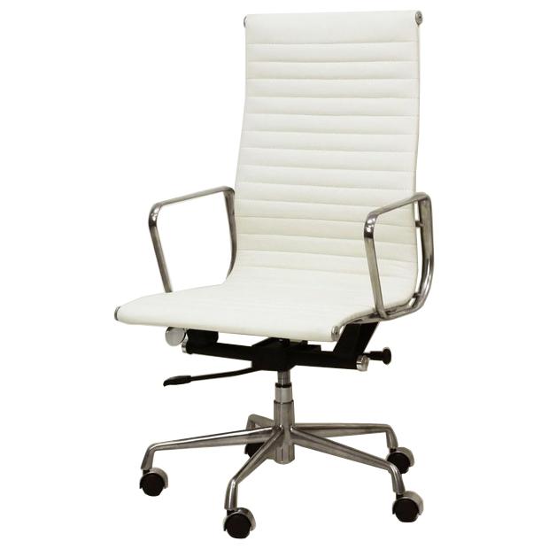 イームズ オフィスチェア アルミナム ハイバック フラットパッド PVC ホワイト