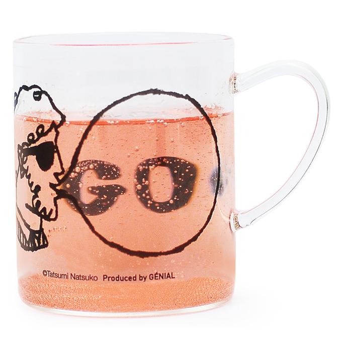 たつみなつこ Tatsumi Natsuko バブルガム 耐熱ガラス マグ マグカップ BUBBLE GUM Heat Resistant Glass Mug MUSTACHE ひげメガネ 330ml