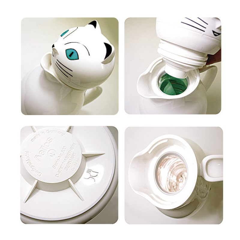 helios ヘリオス サーモキャット ホワイト 魔法瓶 ポット 卓上魔法瓶 ガラス魔法瓶