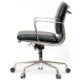 イームズ オフィスチェア アルミナムチェア ショートバック ソフトパッド ブラック  リプロダクト