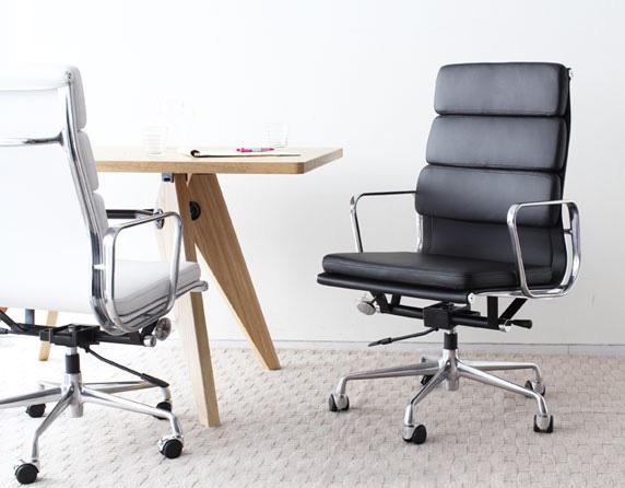 イームズ アルミナムチェア オフィスチェア ハイバック ソフトパッド ブラック PVC アルミナムグループ