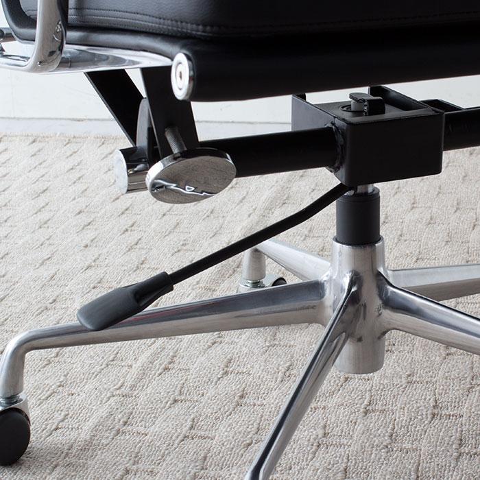 イームズ アルミナムチェア オフィスチェア ミドルバック ソフトパッド ブラック PVC アルミナムグループ
