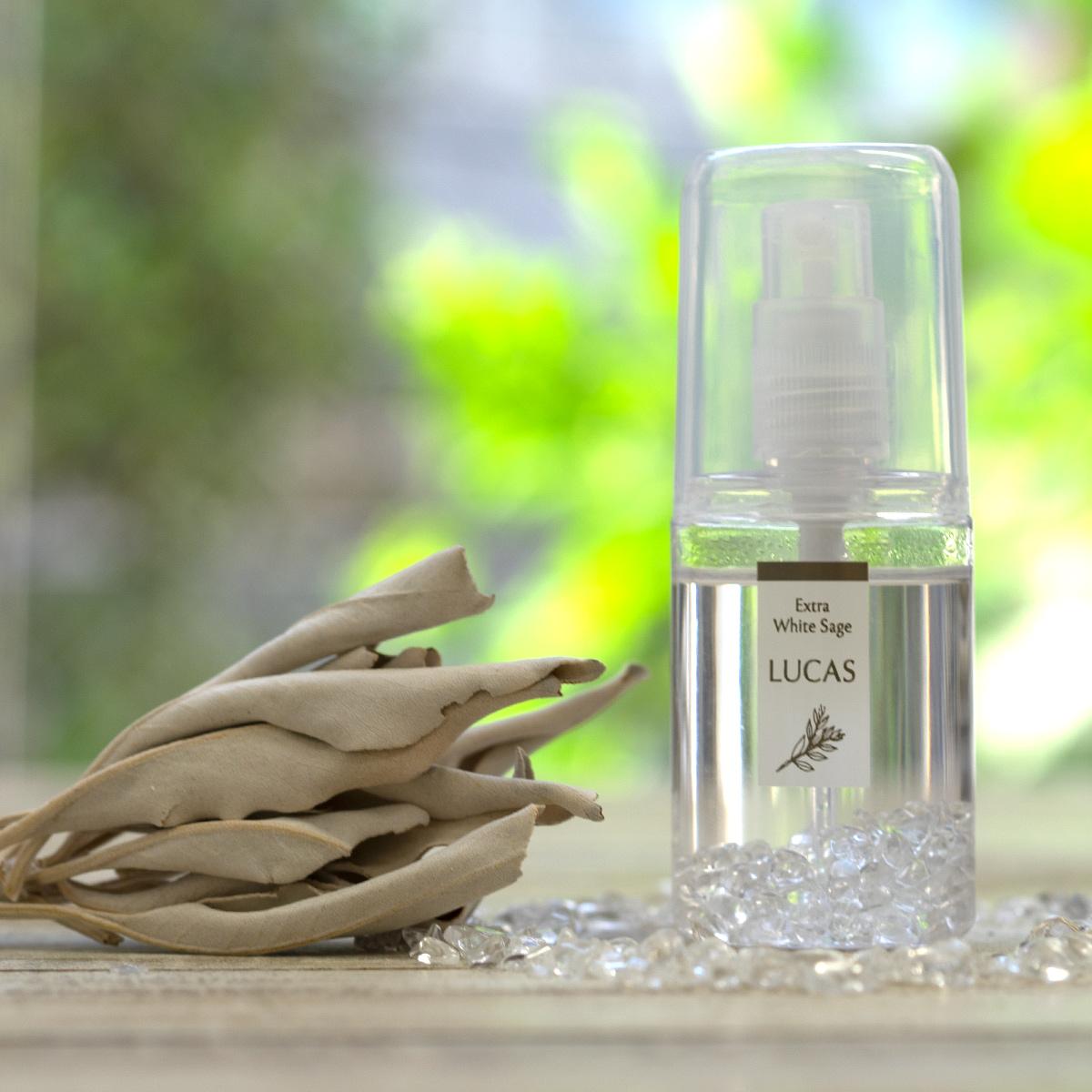 ホワイトセージ 浄化スプレー ルカス ポケットサイズ  【天然成分100% ホワイトセージ&天然石の種類ごとに6種類の香り】