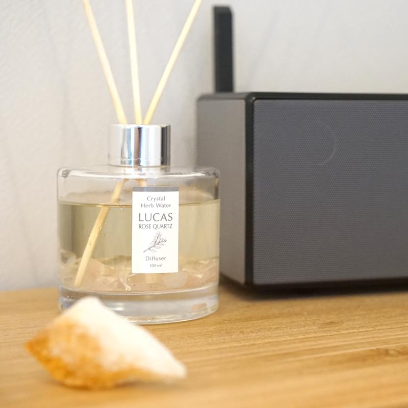 浄化ディフューザー LUCAS 【天然成分100% ホワイトセージ&天然石の種類ごとに5種類の香り】