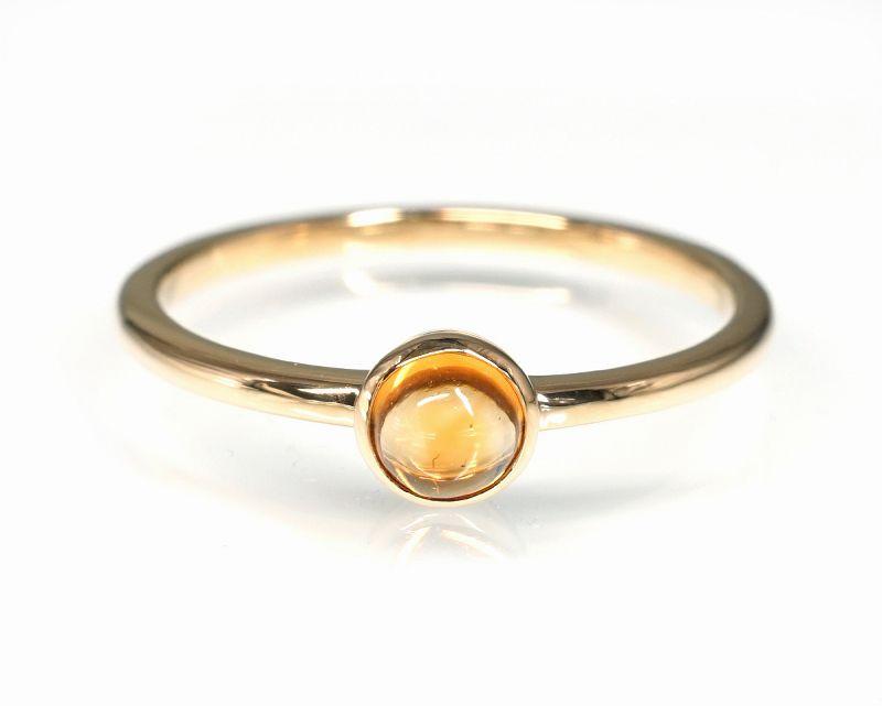 シトリン K18リング・指輪 【前向き・富】 petitnoel  - Clochette [送料無料]