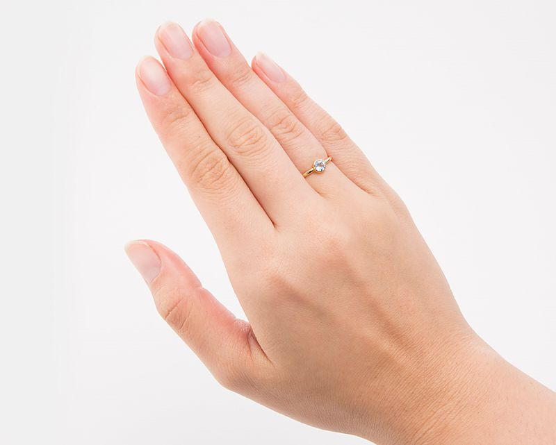 アクアマリン(カット) K18リング・指輪 【幸福・愛情】 LUCAS  - Clochette [送料無料]