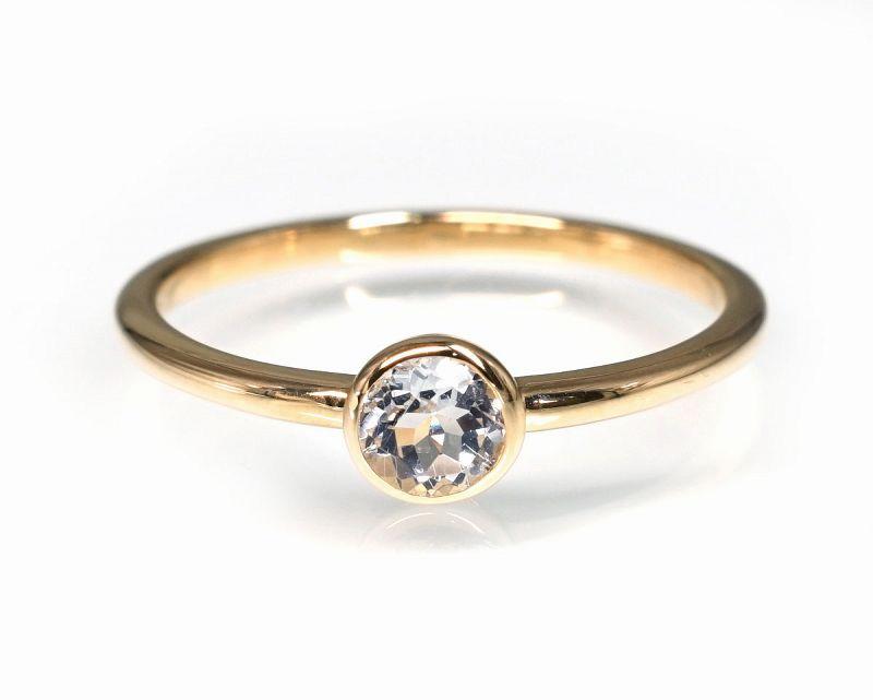 ホワイトトパーズ(カット) K18リング・指輪 【創造・芸術】 petitnoel  - Clochette [送料無料]
