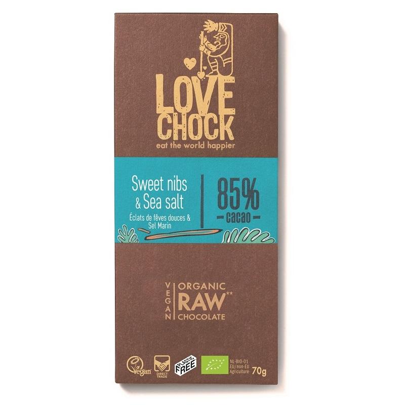 オーガニック ロー チョコレート(ニブ&シーソルト85%)70g|LOVE CHOCK(ラブチョック)