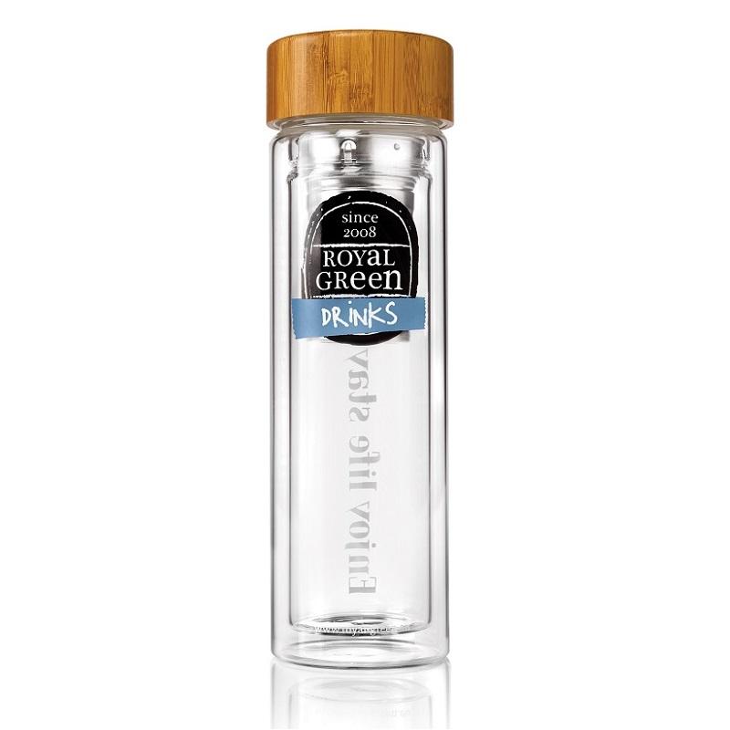 二重壁ガラスボトル300ml(保護カバーつき)|Royal Green