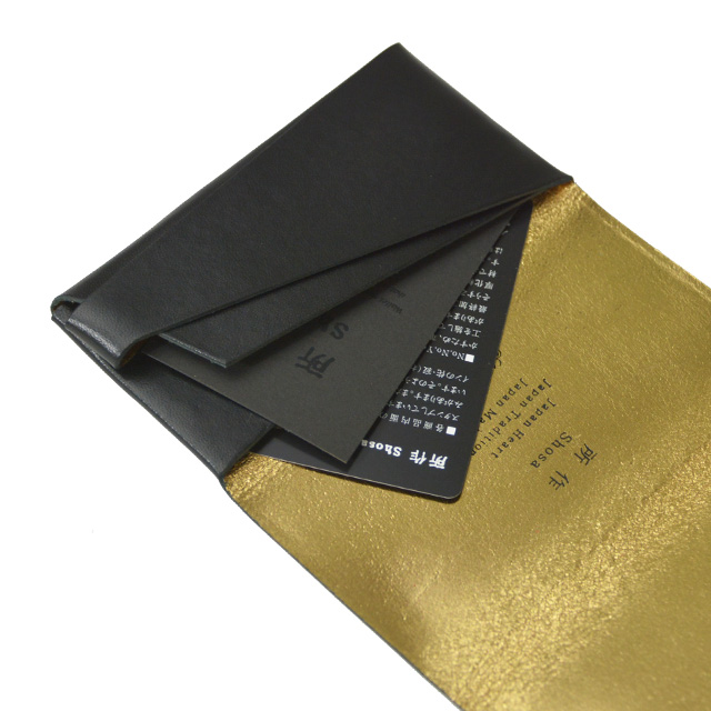 所作 shosa ボレロ ブラック×ゴールド レザー カードケース