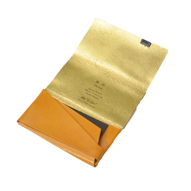 所作 shosa ボレロ キャメル×ゴールド レザー カードケース