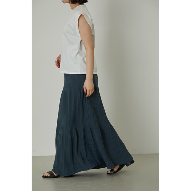 RIM.ARK / リムアーク  Pin tuck flare knit SK