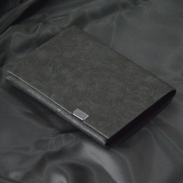 所作 shosa 黒和紙×ブラック レザー ショート ウォレット