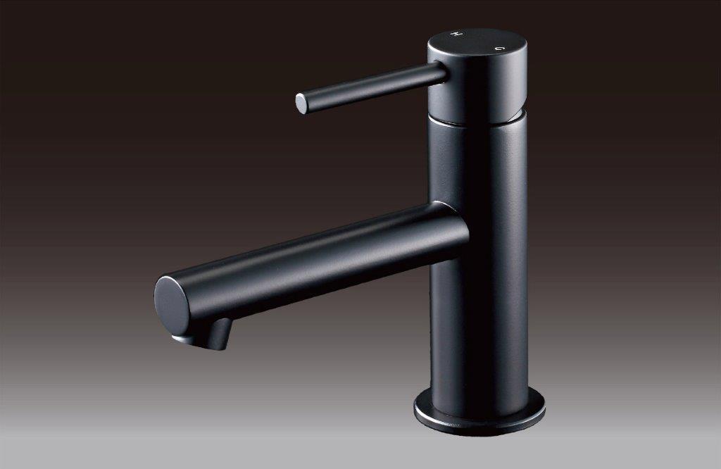 ミズタニバルブ工業 洗面用台付シングルレバー混合栓 MLZ553MMX-BL ブラック塗装