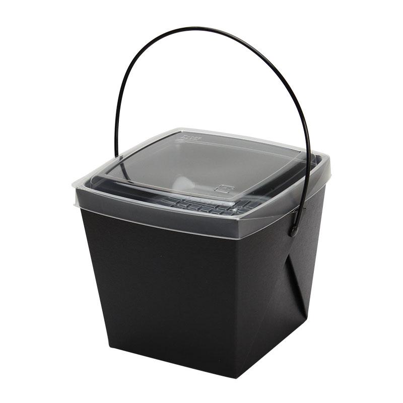 取っ手付ランチボックス デリメイトTK125 カンゴウ容器付 ブラック テイクアウト用 240個