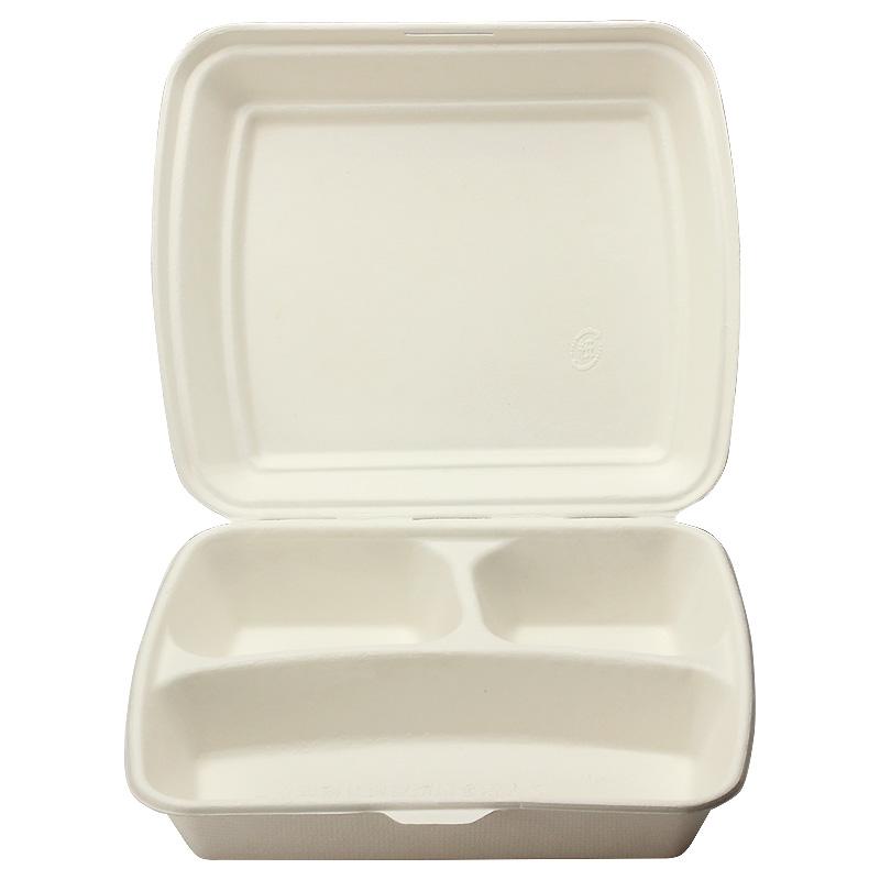 弁当容器 モールドパック容器 仕切付 白 MP-6 コーティング 50個