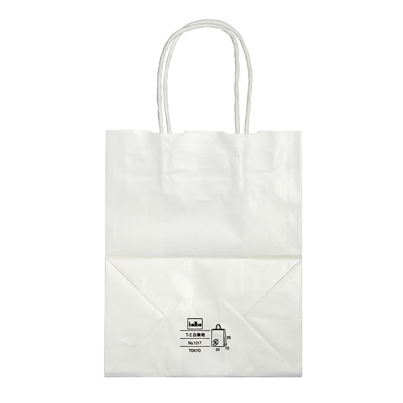 紙手提袋 T-2 白丸紐 No.1217 テイクアウト用紙袋 200枚