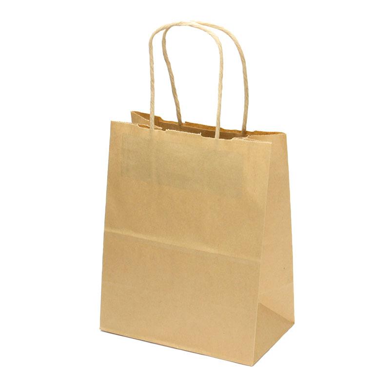 紙手提袋 T-2 茶 丸紐 No.1218 テイクアウト用紙袋 25枚