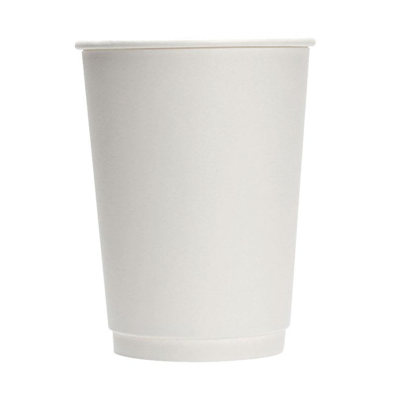 断熱紙コップ 12オンス 二重断熱 ダブルウォールカップ ユニ 白 20個