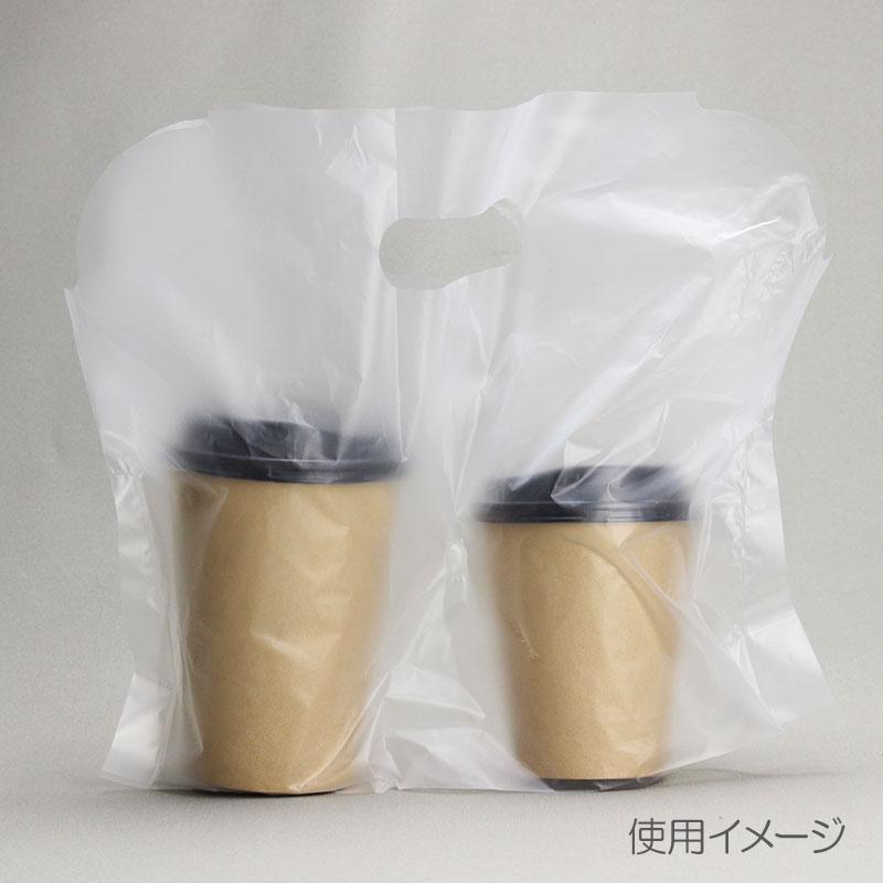 ドリンク持ち帰りバッグ キャリーカップ 2個用 テイクアウト手提げ袋 100枚