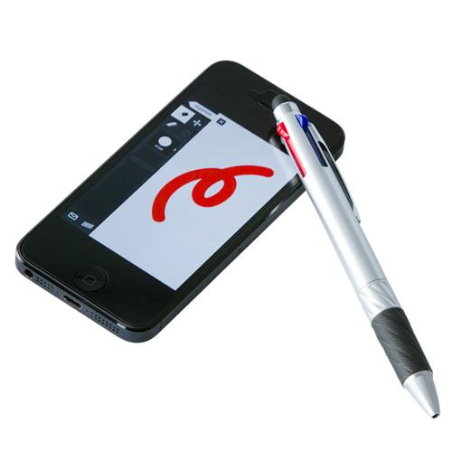 タッチペン付3色ボールペン(シルバー)