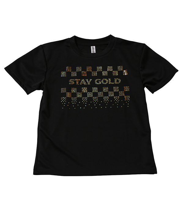 スパンコールTシャツ_STAY GOLD_ BLACK