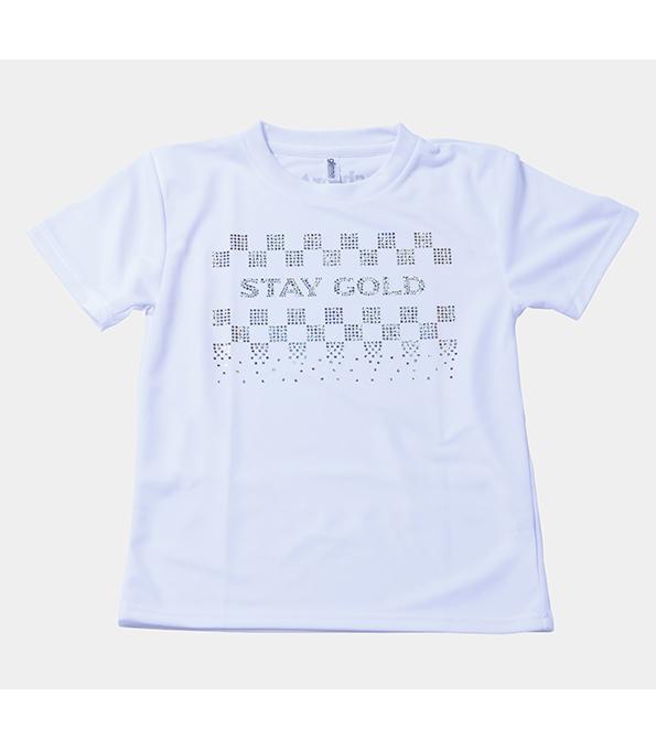 スパンコールTシャツ_STAY GOLD_ WHITE