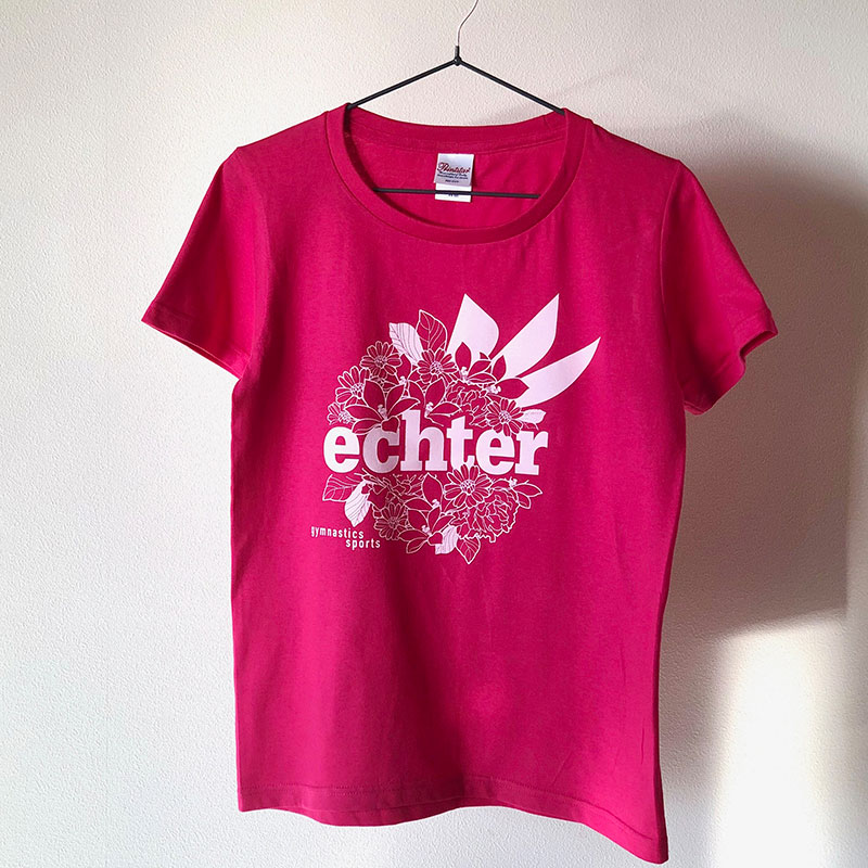 FLOWER LOGO TEE   Hot pink
