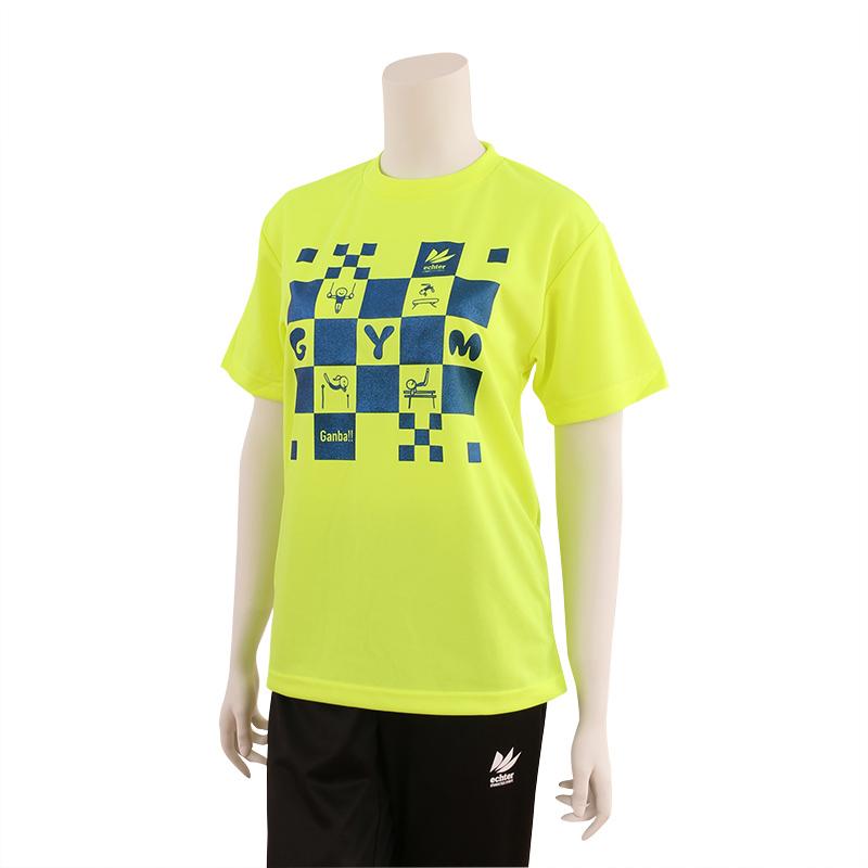 CHECK Tシャツ 蛍光イエロー×ブルー