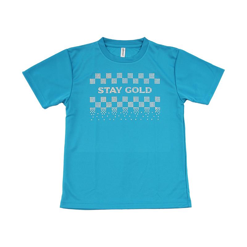 スパンコールTシャツ_STAY GOLD_ BLUE