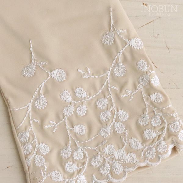 UVカット 手袋 冷感 抗菌 すそ花刺繍  ショート丈 アームカバー ベージュ