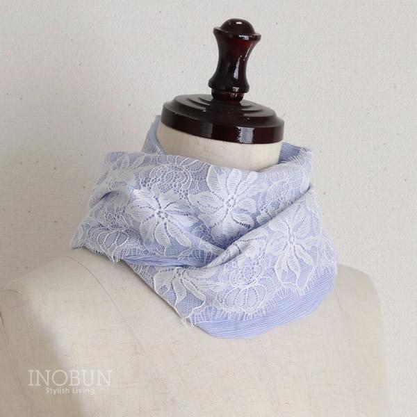 UVカット ストール ワンタッチスカーフ コードレーンレース ブルー