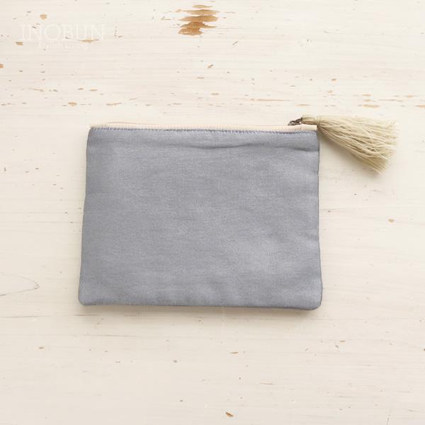 ポーチ インド ビーズ刺繍 フラット 手仕事 グレー 大人デザイン ボタニカル 小さめ ミニ 小物入れ