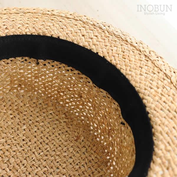 素手編みカンカン帽 麦わら帽子 帽子 UVケア 紫外線対策 ハット ブラック セール