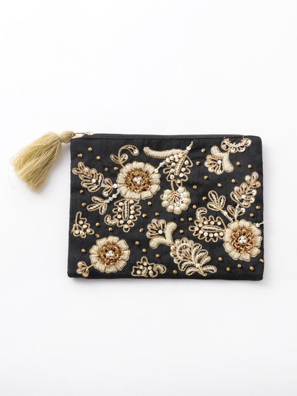ザリ&ビーズ刺繍フラットポーチ M42-1686