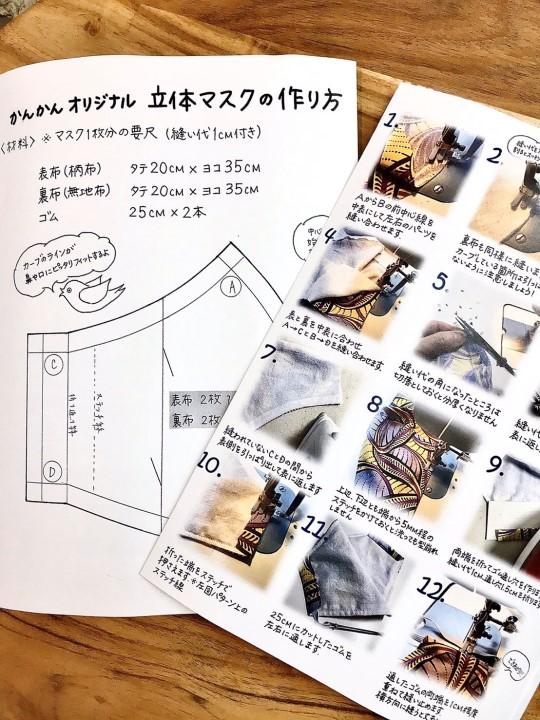 【人気】オリジナルマスク1枚&ハギレ10枚セット(マスクパターン付き)