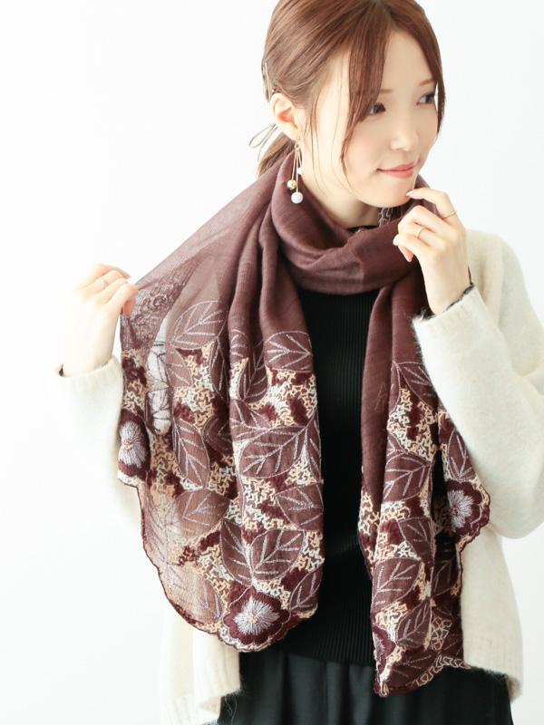 ウール&シルクリーフ刺繍ショールB20W060