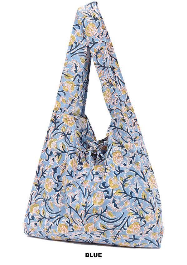 ブロックプリントポケッタブルバッグ(3カラー) H21S304